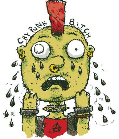 A cartoon punk rocker crying tears of sadness. Illustration