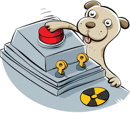 sneaky: A sneaky cartoon puppy pushes the button the launch the nuclear missiles.