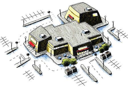 An aerial view of a cartoon shopping mall and parking lot.