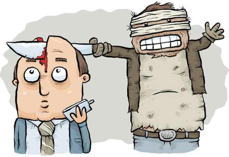 A maniac killer slices into a businessmans skull with a sharp knife.