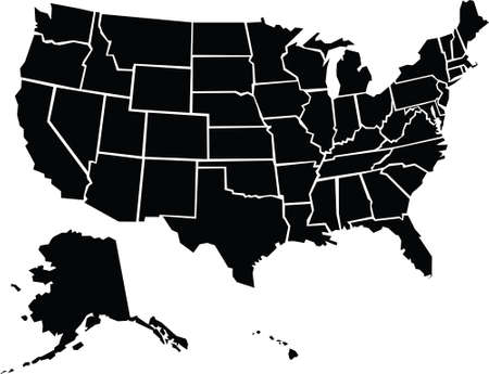 outlines: A chunky, cartoon map of the USA including Alaska and Hawaii.