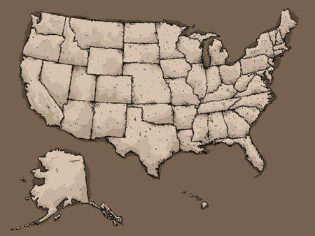 A sketchy, illustrated map of the USA.