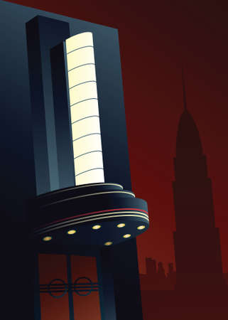 Illustration of an Art Deco movie marquee. Illusztráció