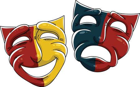 Cartoon drama masks of the theatre. Ilustração