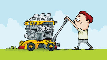 lawnmower: A man mowing grass with an extreme, monster lawnmower. Illustration