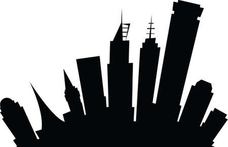 Cartoon skyline silhouette of the city of Melbourne, Australia. Vector