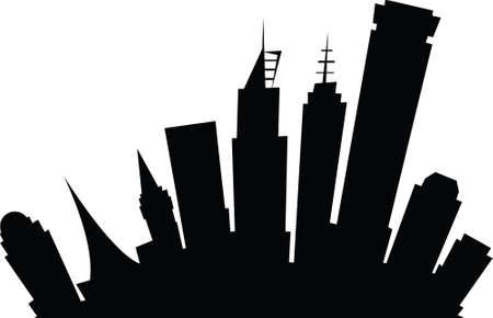 melbourne: Cartoon skyline silhouette of the city of Melbourne, Australia. Illustration