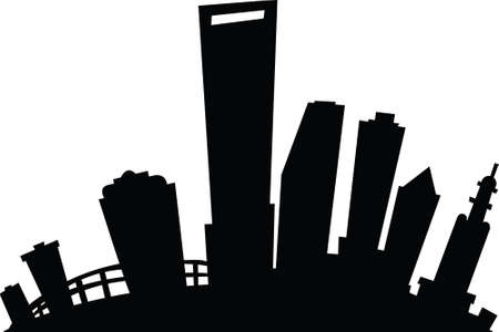 business district: Cartoon skyline silhouette of the city of Miami, Florida, USA.