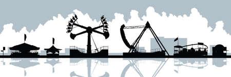 amusement park rides: Skyline silhouette of amusement park rides.