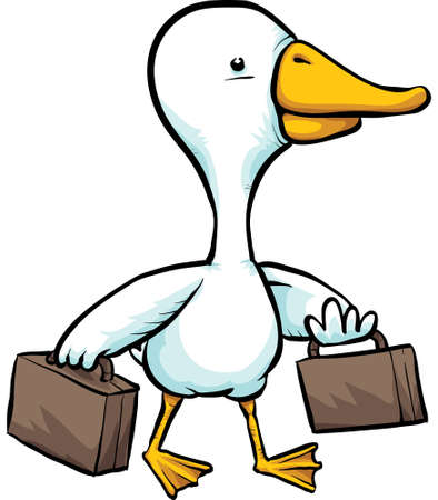 A migrating, cartoon duck travelling with suitcases.