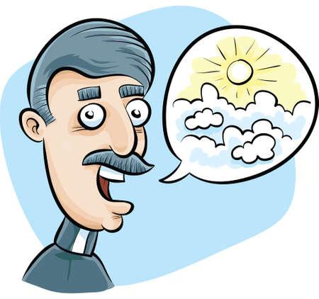 sermon: A cartoon church minister preaches a vision of Heaven.