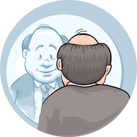거울에 자신을 찾고 만화 사업가.