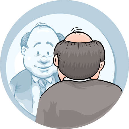 A cartoon businessman looking at himself in a mirror. Illustration