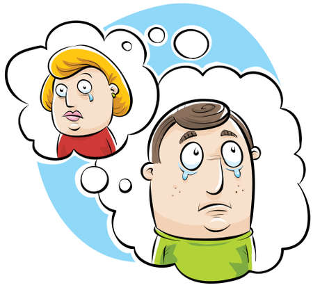 weep: Cartoon thought bubble loop showing a couple missing one another.