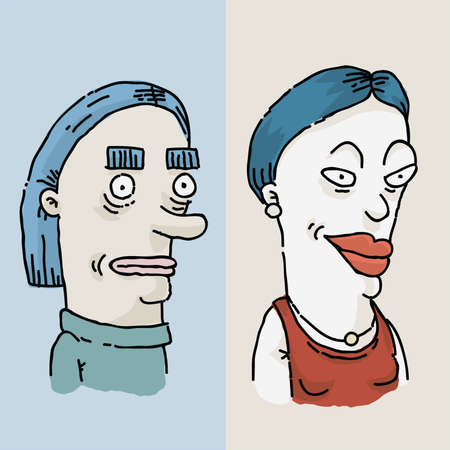 before: Before and after cartoon of a womans makeover and facelift. Illustration