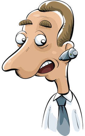 phonecall: A cartoon businessman talks into his mobile ear phone.