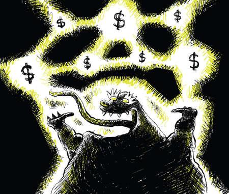 geld: Een gelukkige monster opgewonden te raken over geld.