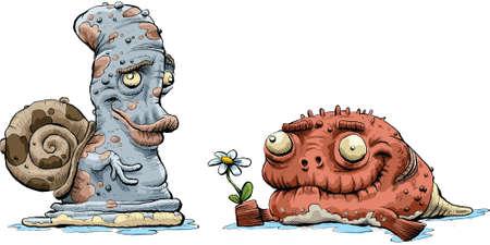 infatuation: A cartoon creature offers another creature a flower. Illustration