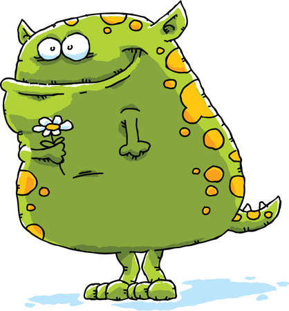 A cute, green cartoon monster holding a flower.