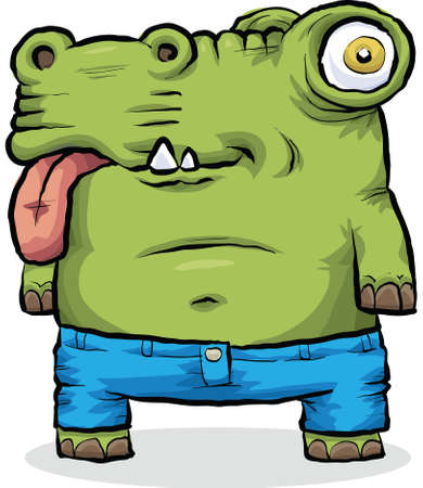 A green cartoon monster in a pair of tight jeans. Ilustração