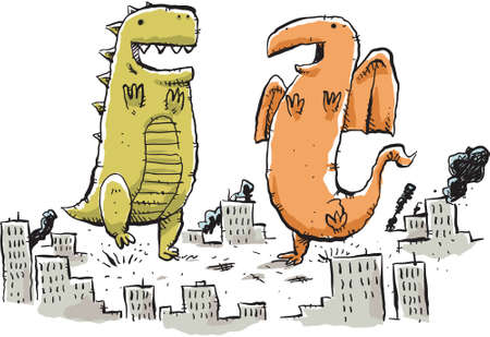 bliss: Two giant, cartoon monster dance in the middle of a city.
