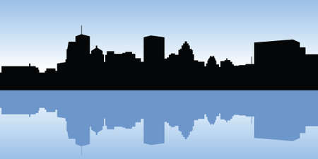 business district: Skyline silhouette of the city of Montreal, Quebec, Canada.