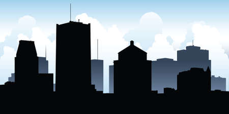 business district: Skyline silhouette of the downtown of the city of Montreal, Quebec, Canada.