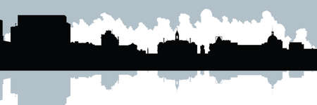Skyline silhouette of the Old Port in Montreal, Quebec, Canada. Illustration