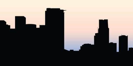 business buildings: Skyline silhouette of the downtown of the city of Montreal, Quebec, Canada.