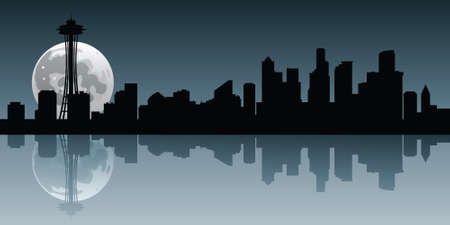moonrise: A full moon rises behind the skyline of the city of Seattle, Washington, USA. Illustration