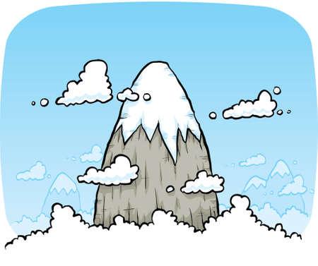 A cartoon mountain peak rises above the clouds. Ilustração