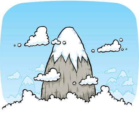 A cartoon mountain peak rises above the clouds. Illustration