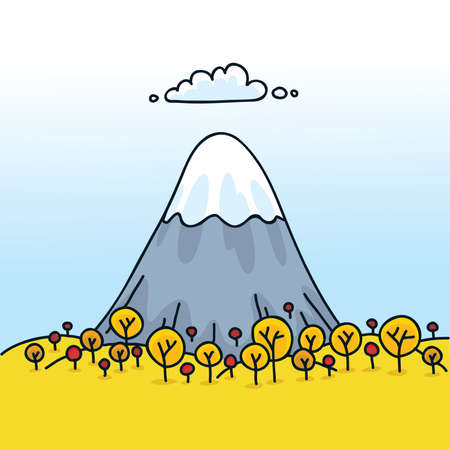 A tall cartoon mountain rises above a fall forest.