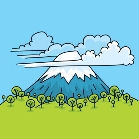 Clouds surround a cartoon mountain in spring.