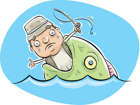 A cartoon fisherman being eaten by a lerge fish.