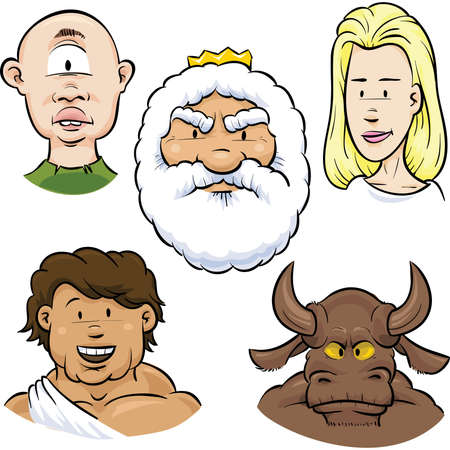 zeus: A set of character faces from Greek Mythology. Illustration