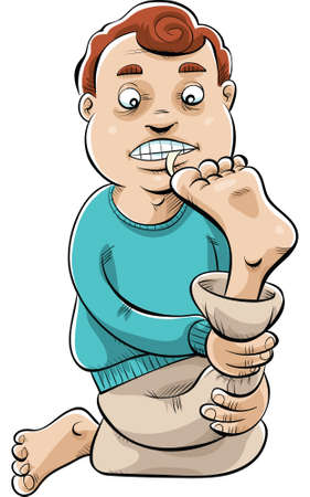 flexible: A cartoon man biting his toenails.