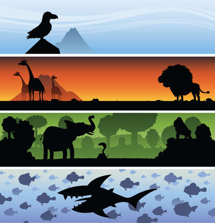 wildlife: A set of cartoon banners featuring wildlife silhouettes.
