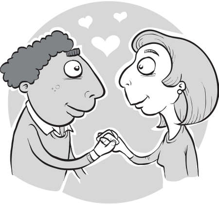 恋に落ちる若い漫画のカップル。