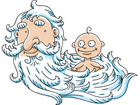 new age: The New Years Baby in the beard of the Old Year.