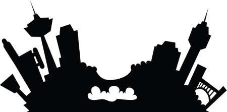 niagara falls city: Cartoon skyline silhouette of the city of Niagara Falls.
