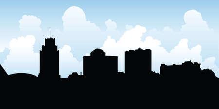 niagara falls city: Skyline silhouette of the city of Niagara Falls, New York, USA.