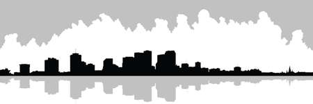 new orleans: Skyline silhouette of the city of New Orleans, Louisiana, USA.