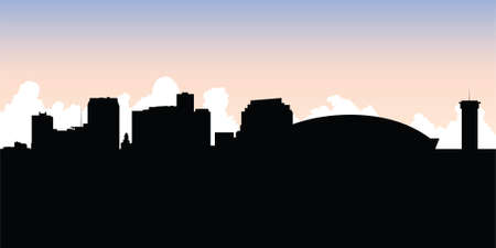 Skyline silhouette of the city of New Orleans, Louisiana, USA. Vector