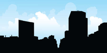 uptown: Skyline silhouette of buildings in the North York portion of Toronto, Ontario, Canada.