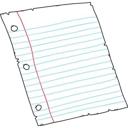 holed: Cartoon piece of three-holed, lined binder paper. Illustration