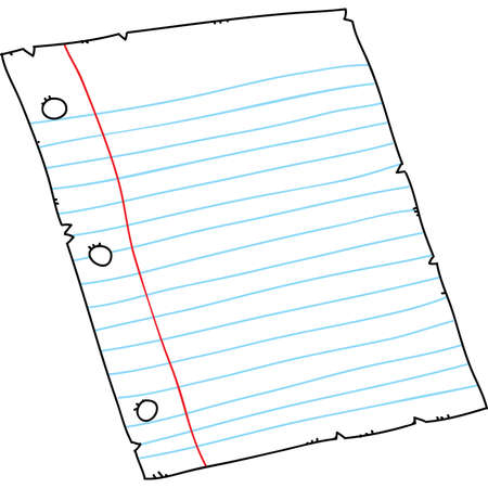 Cartoon piece of three-holed, lined binder paper. Illustration