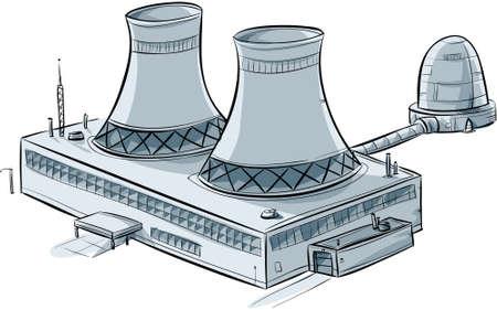 A cartoon nuclear generating station. Illustration