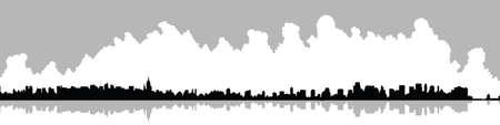 Skyline silhouette of New York City, USA.