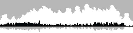 new york skyline: Skyline silhouette of New York City, USA.
